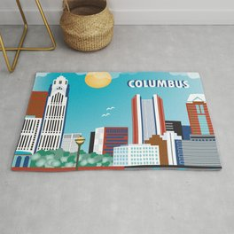 Columbus, Ohio - Skyline Illustration by Loose Petals Rug