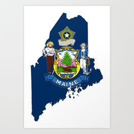 Maine Map with Flag of Maine Art Print