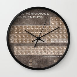 Tableau Periodiques Periodic Table Of The Elements Vintage Chart Sepia Red Tint Wall Clock