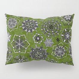 mandala snowflakes green Pillow Sham