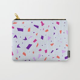 Pale Lilac Terrazzo Pattern - Orange Granite Marble Sparkles Carry-All Pouch