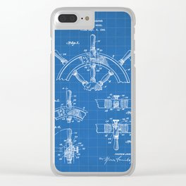 Ships Wheel Patent - Boat Wheel Art - Blueprint Clear iPhone Case