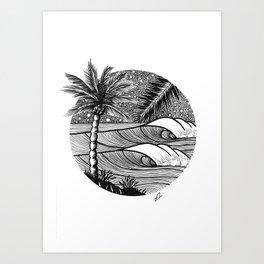 Tropical night session Art Print