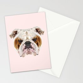English Bulldog // Pastel Pink Stationery Cards