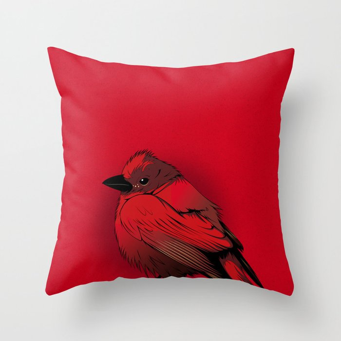 Little Red Bird Throw Pillow by craniodsgn Society6