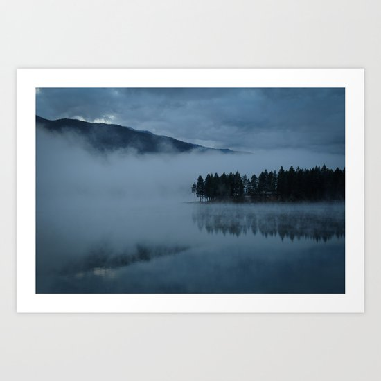 Foggy lake morning Art Print