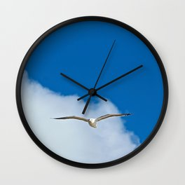Solitary Seagull Bird Flying Sky Clouds Wall Clock