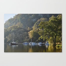 Boats and autumnal colour. Ullswater, Cumbria, UK. Canvas Print