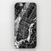 new york map iPhone & iPod Skins featuring New York map by Bekim ART