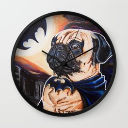 Bat-man the Pug Wall Clock