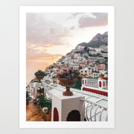 Amalfi Coast Positano Sunset Art Print