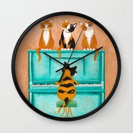 Piano Cats Wall Clock