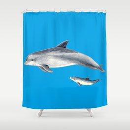 Bottlenose dolphin blue background Shower Curtain