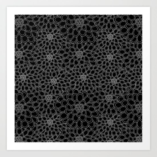 """""""Black flowered tree"""". Art Print"""