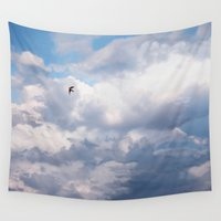 swallow Wall Tapestries featuring Swallow in Flight by Katharine Asals