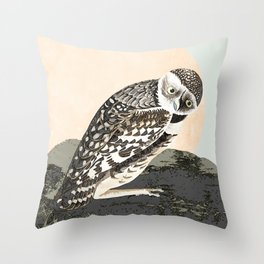 LargeHeaded Burrowing Owl Throw Pillow