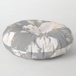 Night Rose Garden Gray Floor Pillow