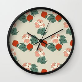Red Peonies Wall Clock