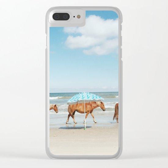 Summer Coast Horse Stride Clear iPhone Case
