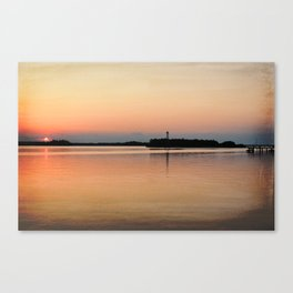 Lower Cape Fear River Sunset Burnished Canvas Print