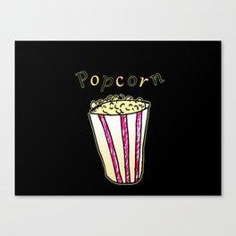 Popcorn: Black Canvas Print