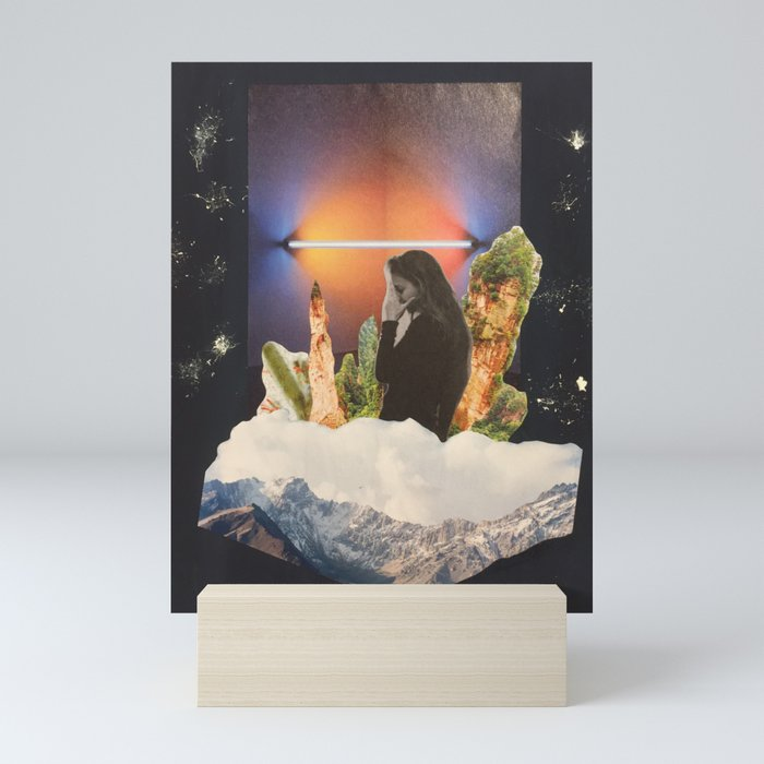 Woman in front of cacti,hills and neon lamp Mini Art Print