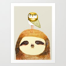 Sloth and Owl. Art Print