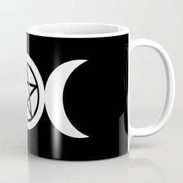Goddess and Pentacle Symbols - White on Black Coffee Mug