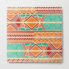 Tribal ethnic geometric pattern 027 Metal Print