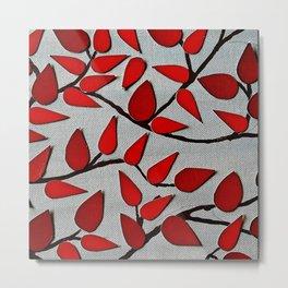 Red Autumn Leaves over Dark Skies Metal Print