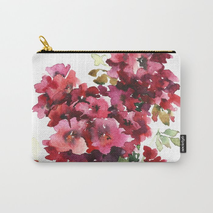 Watercolor geranium flowers Carry-All Pouch