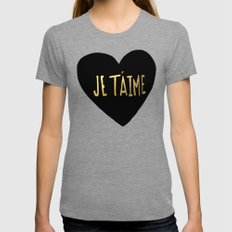 je t'aime x heart Tri-Grey Womens Fitted Tee MEDIUM
