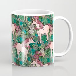Rose Gold Unicorn in a Garden Coffee Mug