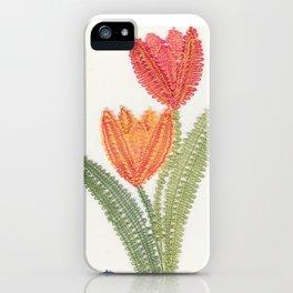 Tulipes et papillon en dentelle iPhone Case