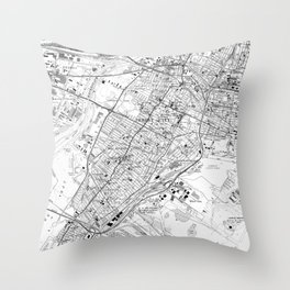 Vintage Map of Jersey City NJ (1967) BW Throw Pillow