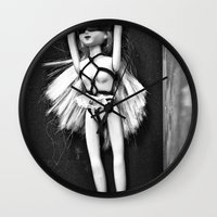 bondage Wall Clocks featuring Bondage Barbie by MistyAnn @ What the F-stop Prints