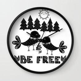Be Free Birds In Cute Scandinavian Style Wall Clock