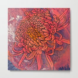 Chrysanthemum (Silk screen & fine liner) Metal Print