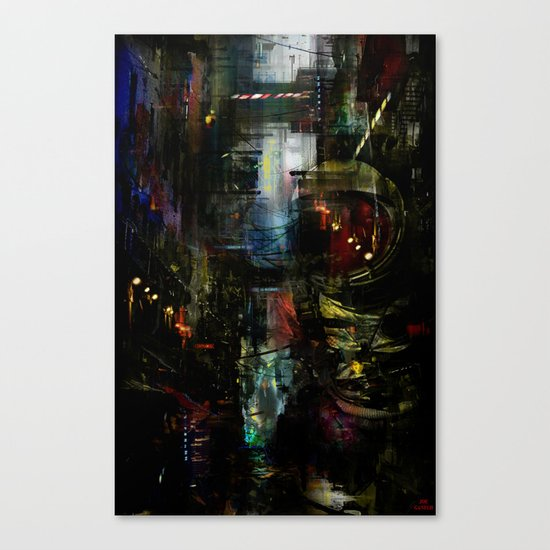 Astronaut in the city Canvas Print