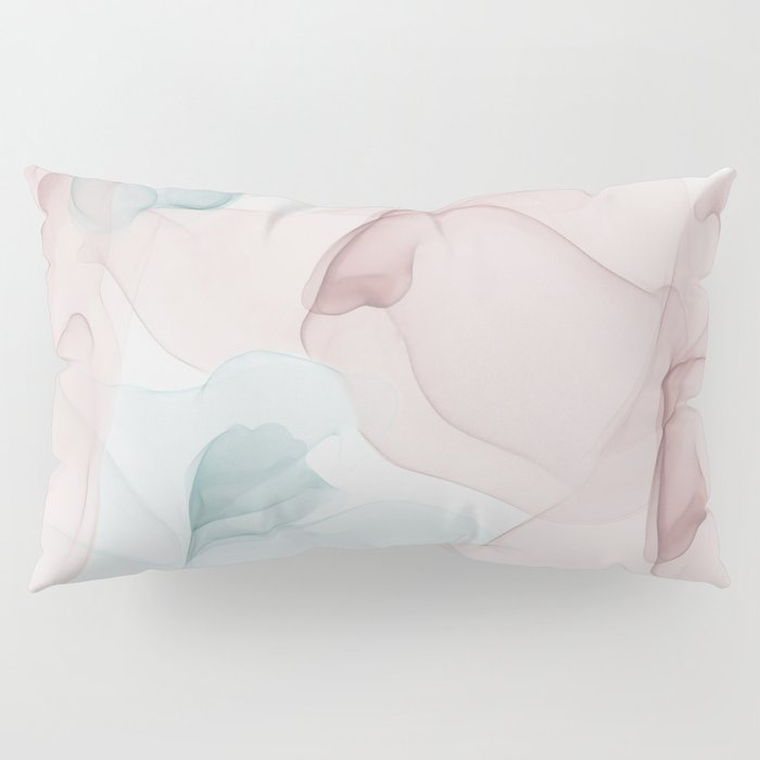 Blush and Blue Flowing Abstract Painting Pillow Sham