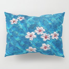 Almond blossom floating in swimming pool Pillow Sham