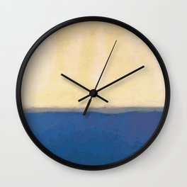 Plain color blue and white art print Wall Clock