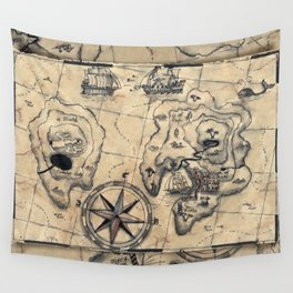 Old Nautical Map Wall Tapestry