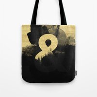 black and gold Tote Bags featuring Black & Gold by Tamsin Lucie