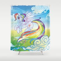 mlp Shower Curtains featuring Rainbow Dash - MLP by mmishee