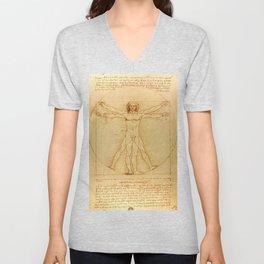 Vitruvian Man - Leonardo da Vinci Unisex V-Neck