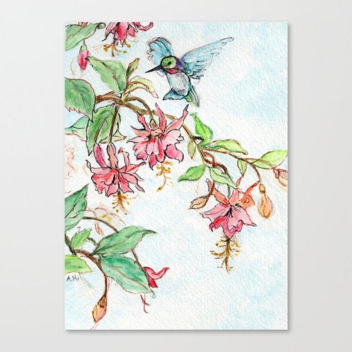 Honeysuckle Hummingbird Leinwanddruck
