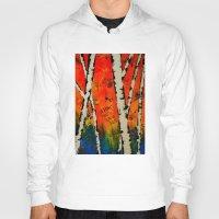 birch Hoodies featuring Orange Birch  by BeachStudio