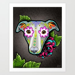 Greyhound - Whippet - Day of the Dead Sugar Skull Dog Art Print