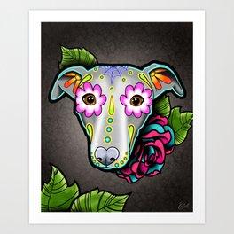 Greyhound - Whippet - Day of the Dead Sugar Skull Dog Art Print
